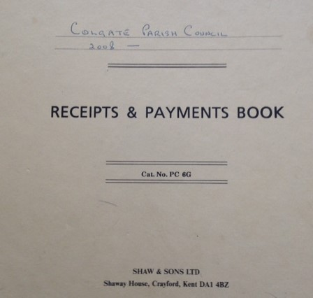 Receipts & Payments book front cover